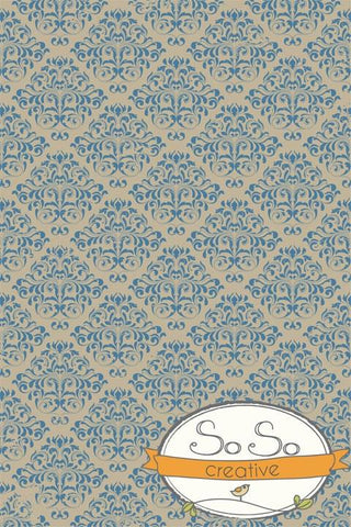 Damask Diva Photo Backdrop - Blue & Cream Backdrops SoSo Creative
