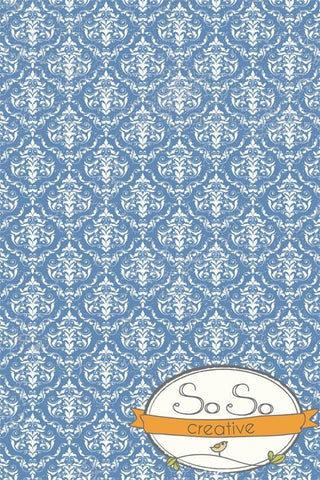 Damask Diva Photo Backdrop - Blue & White
