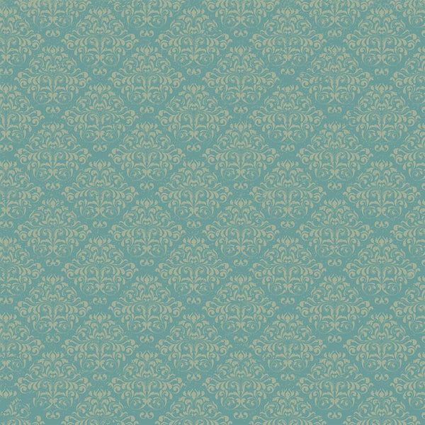 Damask Diva Photo Backdrop - Teal & Cream