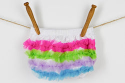 Sweet Peti Bloomers Bloomers SoSo Creative Rainbow ruffle on white bloomer