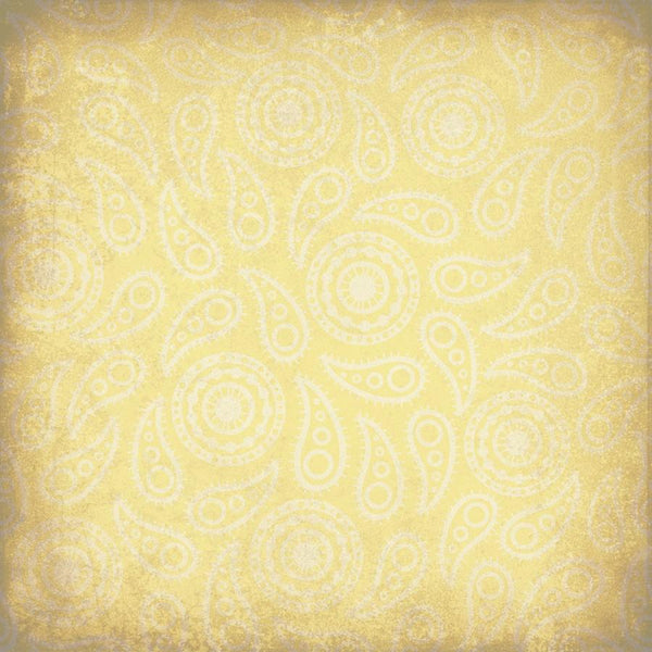 Paisley Photo Backdrop - Vintage Yellow Grunge