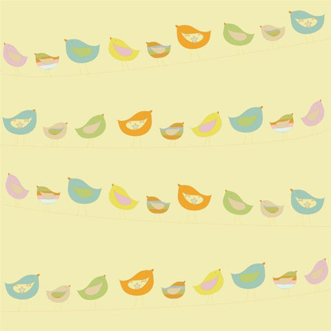 Pattern Photo Backdrop - Birds on a Wire in Yellow Backdrops Rachael Mosley