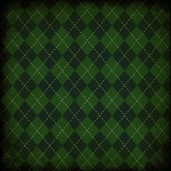 St. Patrick's Day Photo Backdrop - Plaid Dark Grunge