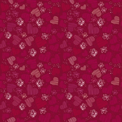 Valentine Backdrop Butterflies and Hearts on Red