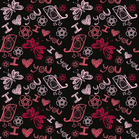 Valentine Photo Backdrop - I Heart You in Black