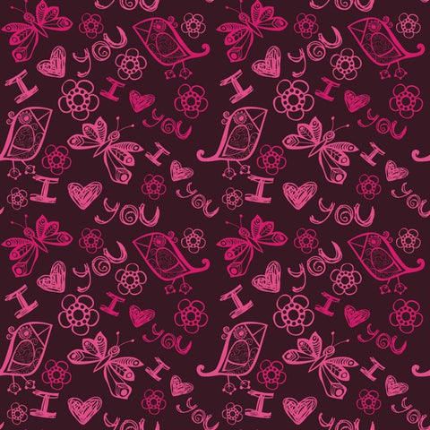 Valentine Photo Backdrop - I Heart You in Purple