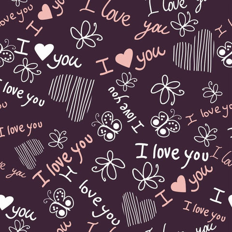 Valentine Photo Backdrop - Love Doodles on Purple