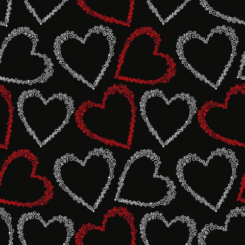 Valentine Backdrop Red and White Hearts