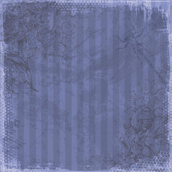 Photo Backdrop - Dragonfly Scrapbook in Blue