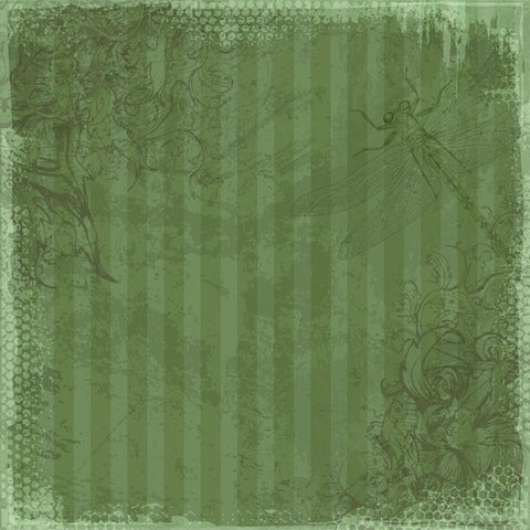 Vintage Backdrop Dragonfly Scrapbook in Green