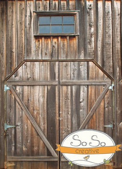 Wood Studio Background Warm Double Barn Doors Backdrops vendor-unknown