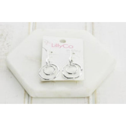 Silver double ring earrings