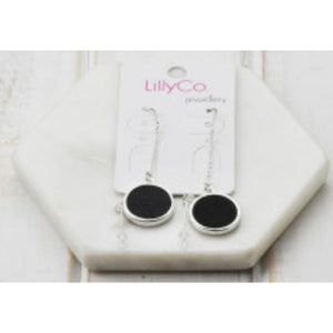 Black leather thread earrings