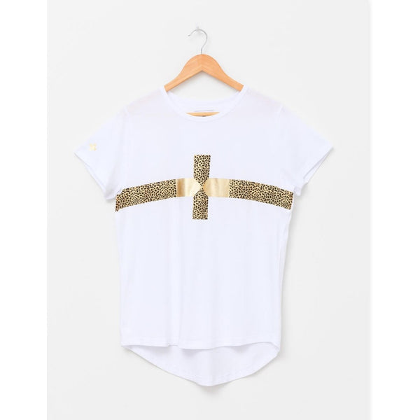 White Cheetah Gold Cross Tee