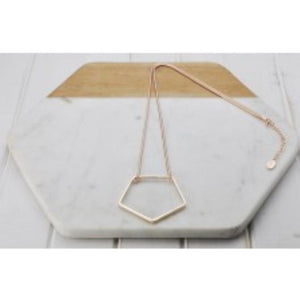 Rose Gold Pentagon Necklace