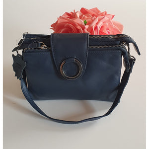 Brittany Navy Leather Crossbody bag