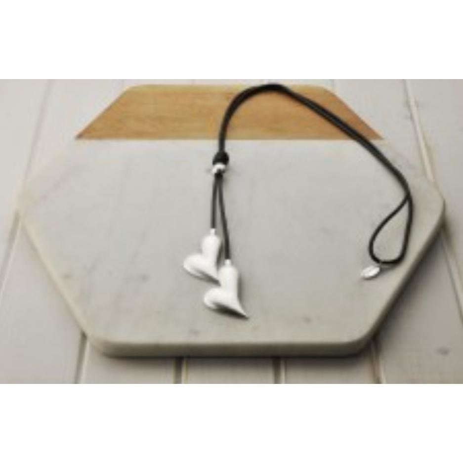 Leather Silver Heart Necklace