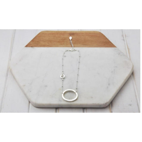 Short Silver ring necklace