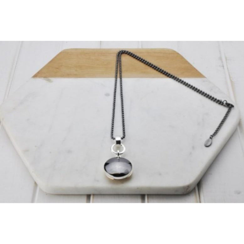 Hermatite and rose gold disc necklace