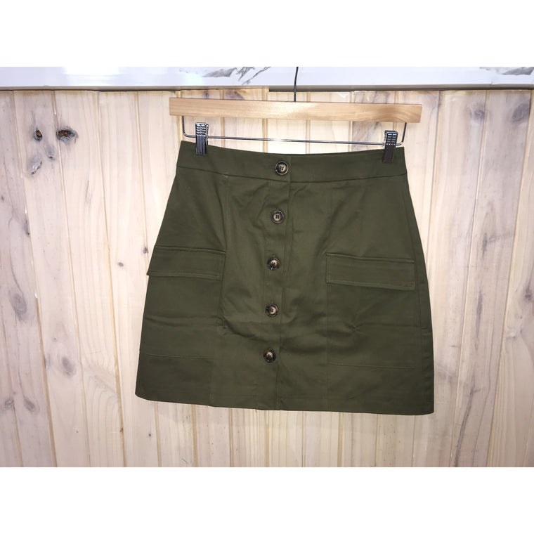 Lucy Skirt - Khaki Green Skirt with buttons