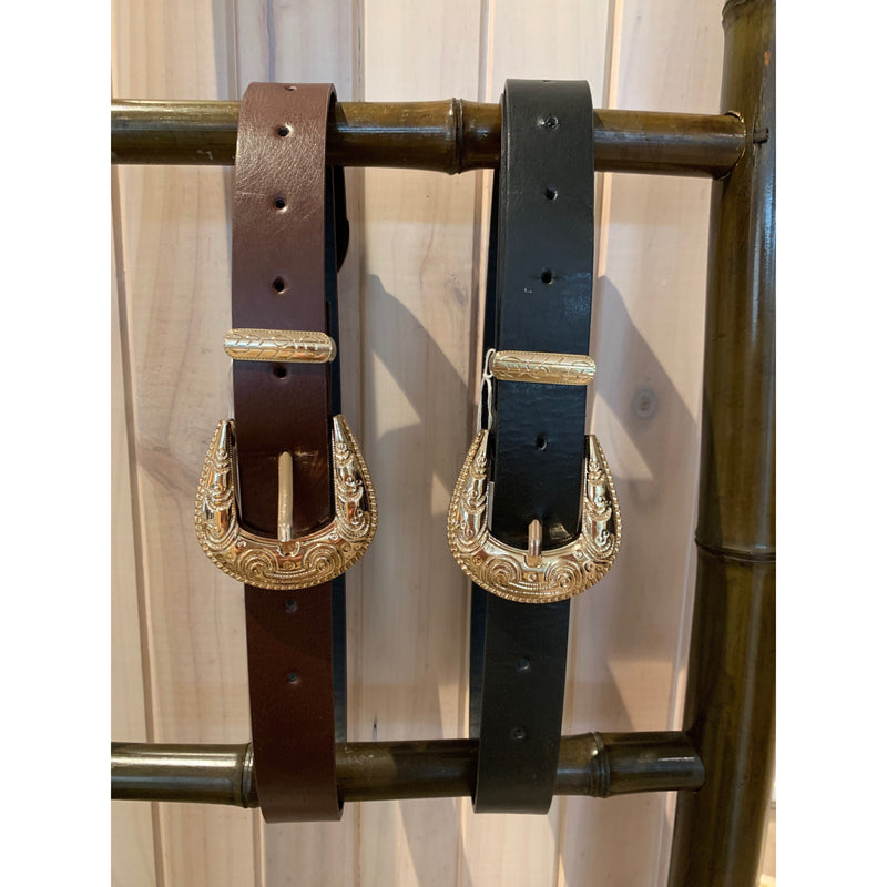 Belts with gold buckle