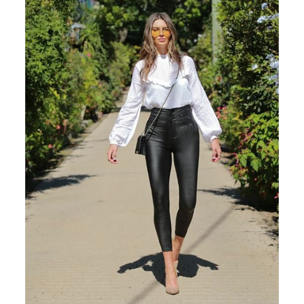 High Waisted Oil Rigger Sheen Pants