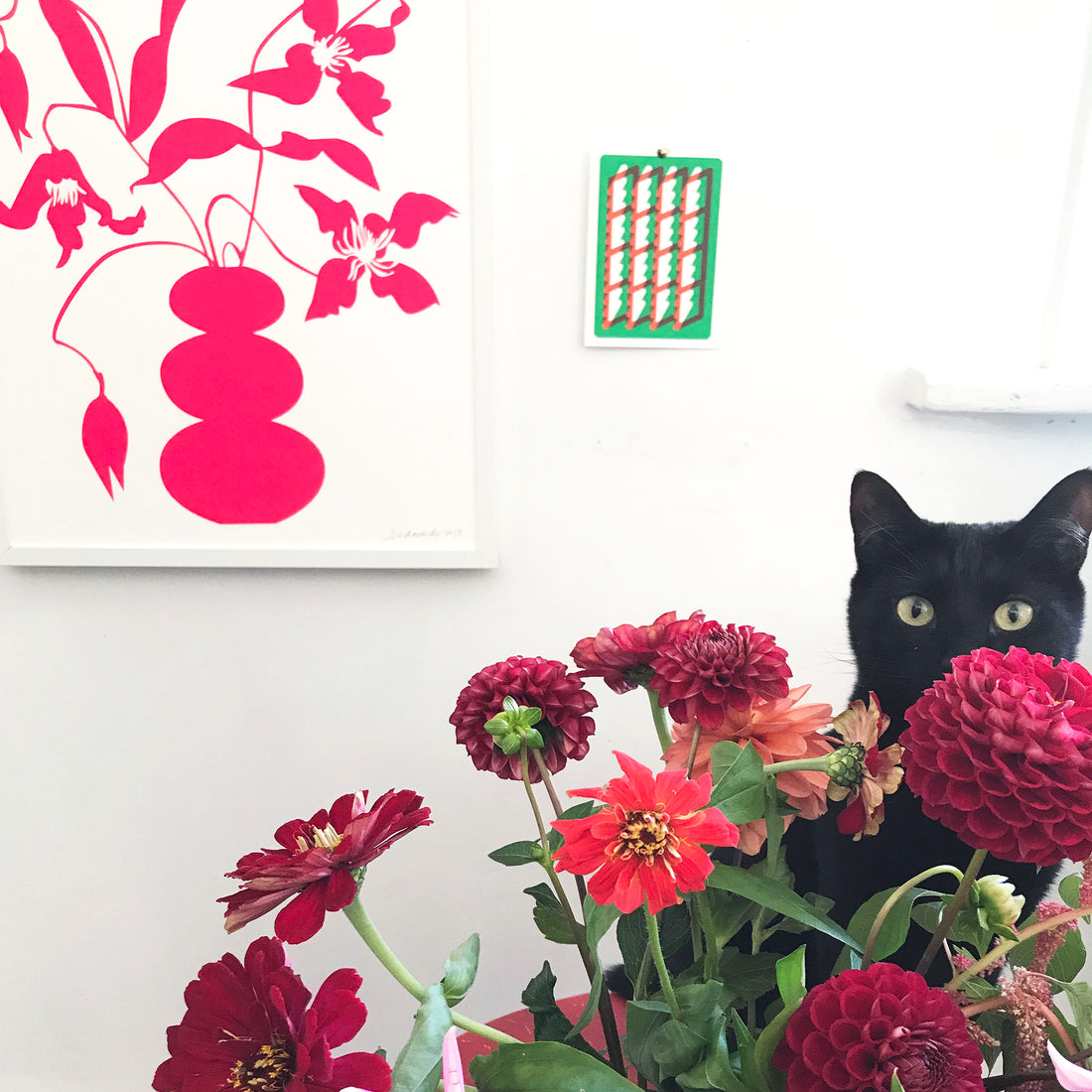 modern clematis print with cat