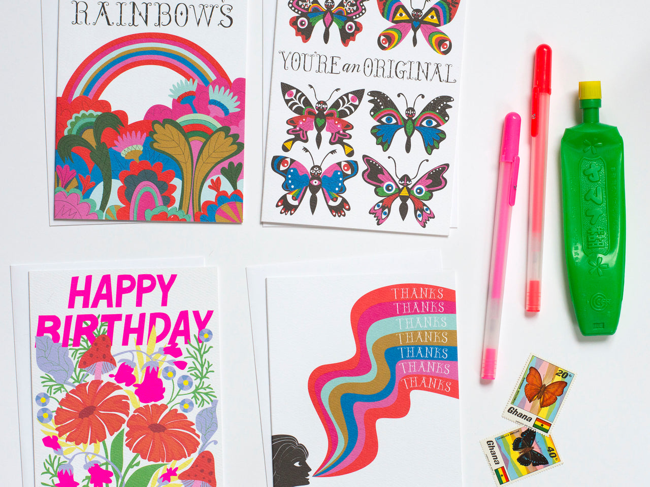 new rainbow and butterfly notecards at banquet workshop
