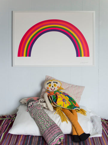 Styled shot of Banquet Workshop's Rainbow screen print, perfect in a kid's room!