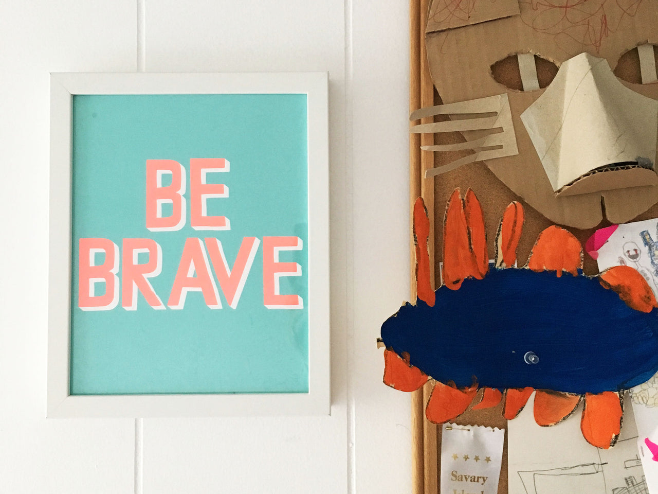 Aqua a Neon Orange BE BRAVE small framed Affirmation print.