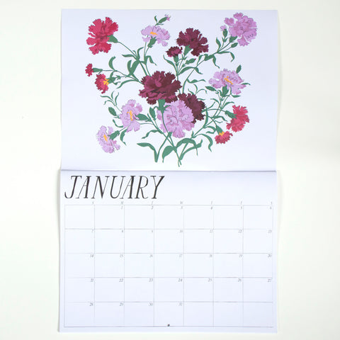 Carnations for january in Banquet Workshop's 2018 floral-themed calendar