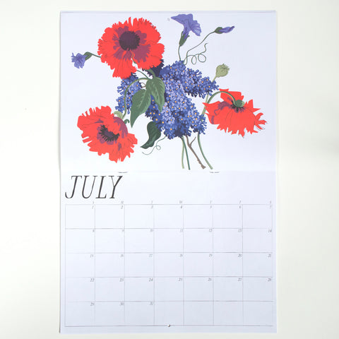 July poppies and lilac from banquet Workshop's 2018 calendar