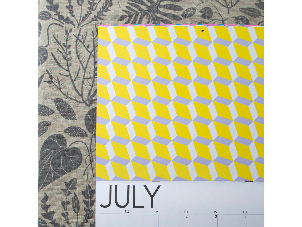 Yellow and Lavender geometric Image for the month of July in Banquet's 2019 Calendar