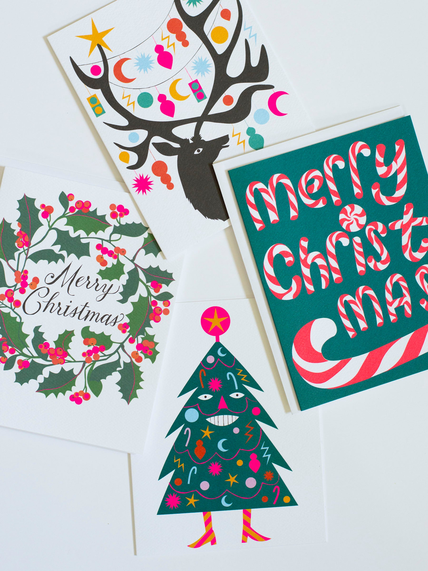 holiday cards, happy tree note card, christmas cards