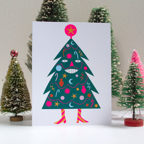 christmas card, xmas cards,happy tree, smiling holiday tree