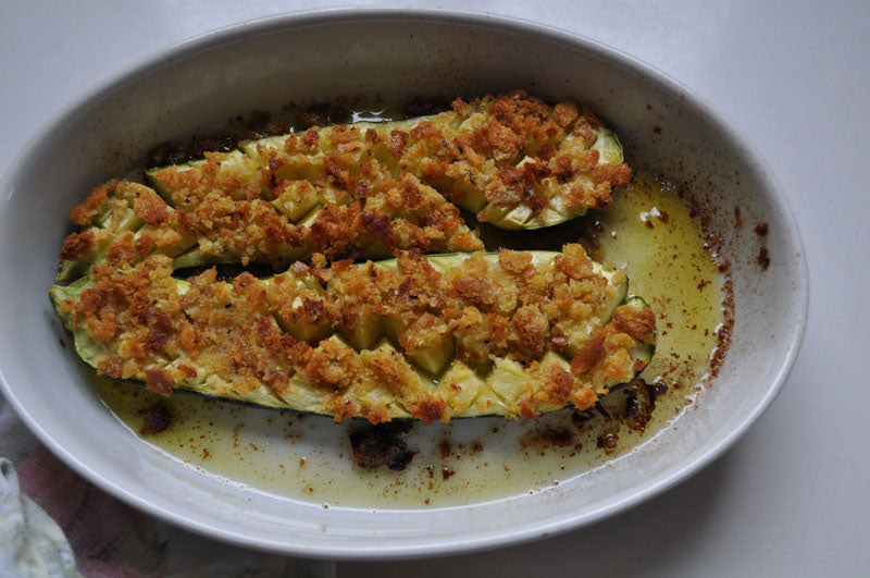 roasted zucchini with breadcrumbs