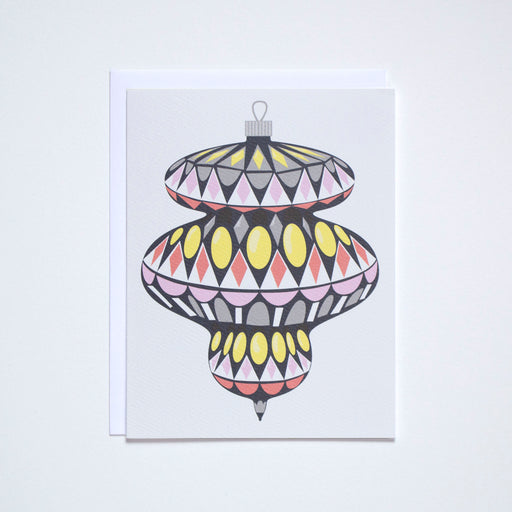 Graphic and mod vintage glass ornament in pinks and yellows, great holiday note card.