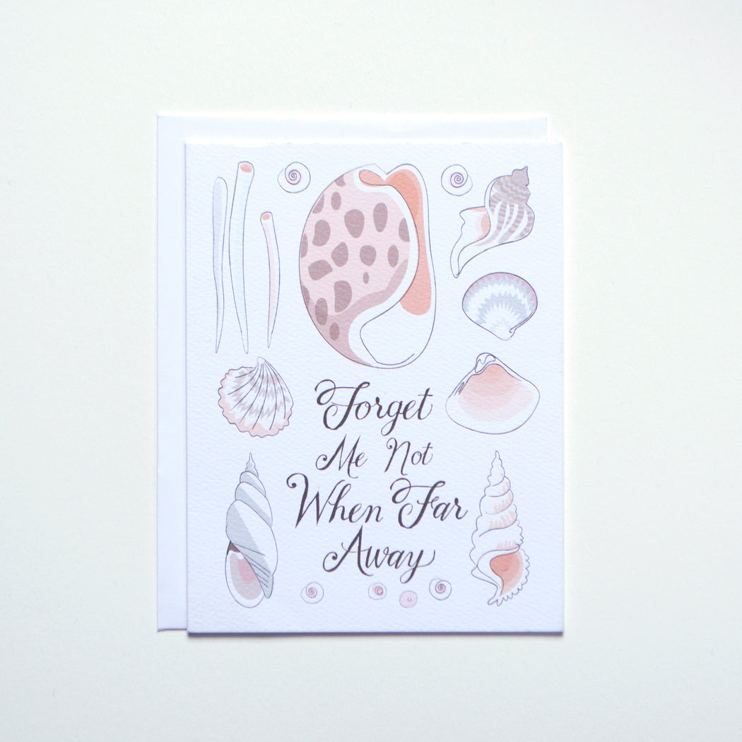 "a softer card from banquet workshop with mixed sea shells and a message reading ""Forget Me Not When Far Away"""
