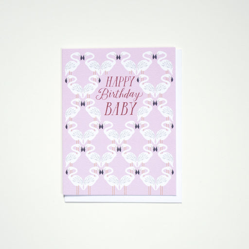 """Happy Birthday Baby"" and rows of pink flamingoes on this Banquet Workshop Note Card"