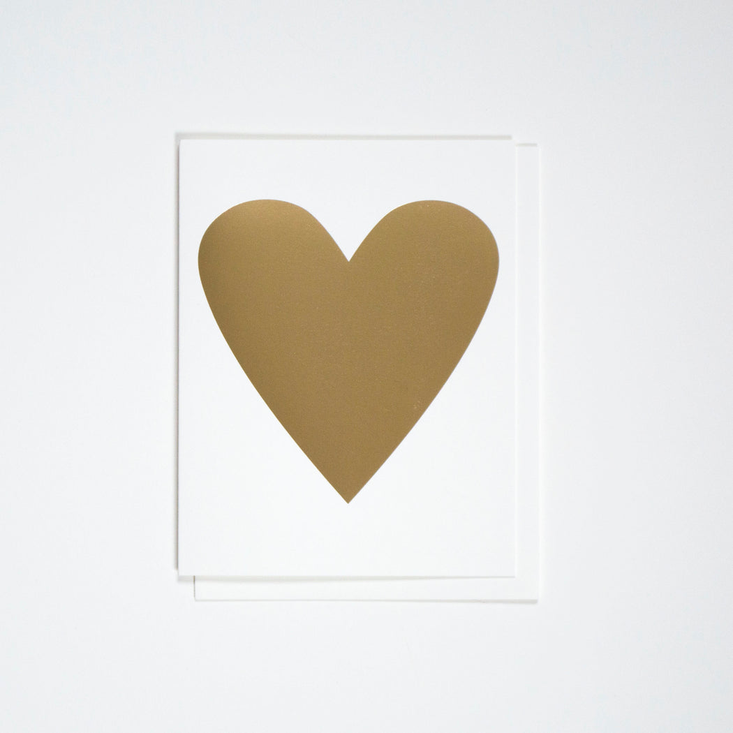 Classic Banquet heart note card in a beautiful metallic gold foil