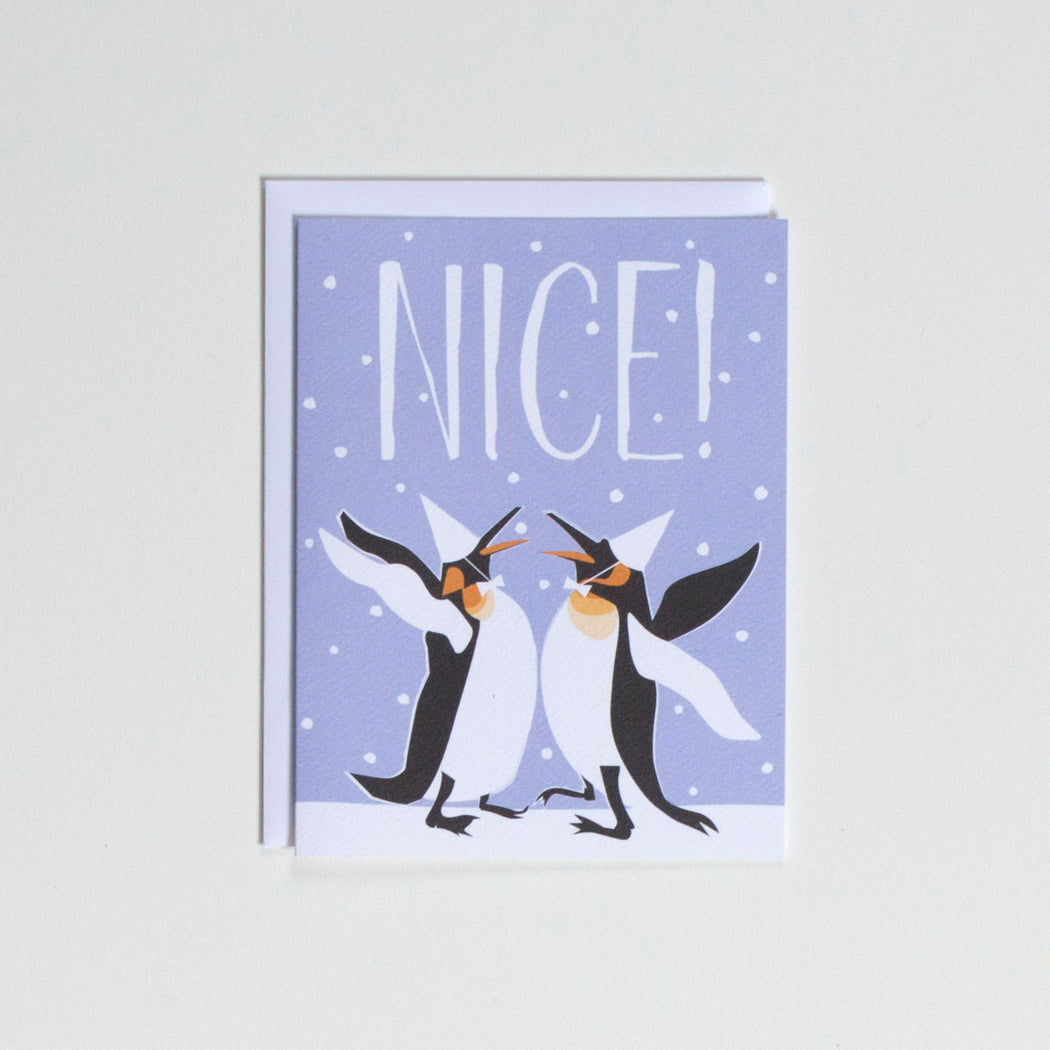 "Note card with penguins in party hats giving each other a chest bump. Greeting reads ""Nice!"""