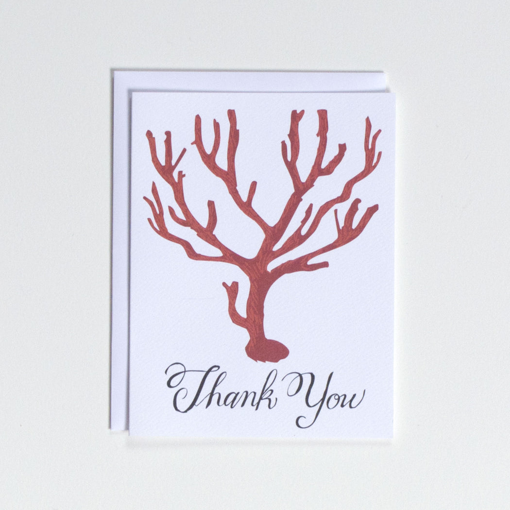 Blood Red Coral Note Card, Ancient, Medusa, Italy