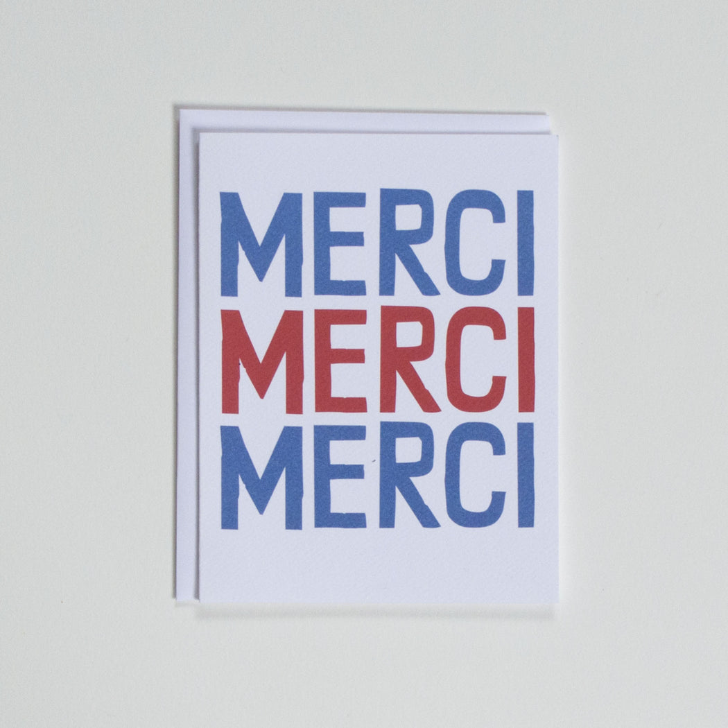 Banquet Workshop's hand lettered red and blue Merci Merci Merci note card