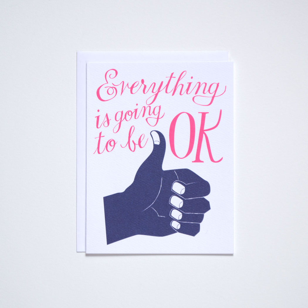 """Everything is going to be OK"" in neon with a navy blue thumb's up hand on this note card from Banquet Workshop"