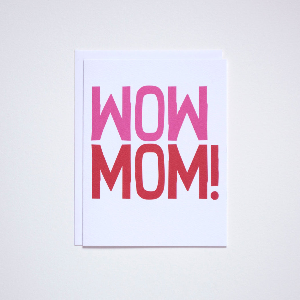 Banquet Workshop Note Card with WOW MOM! in hand drawn lettering.