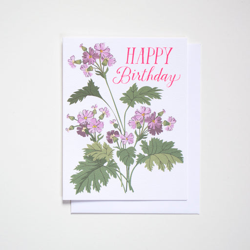 neon, mauve, and pink primula and a hand lettered happy Birthday greeting adorn this special card from Banquet Workshop