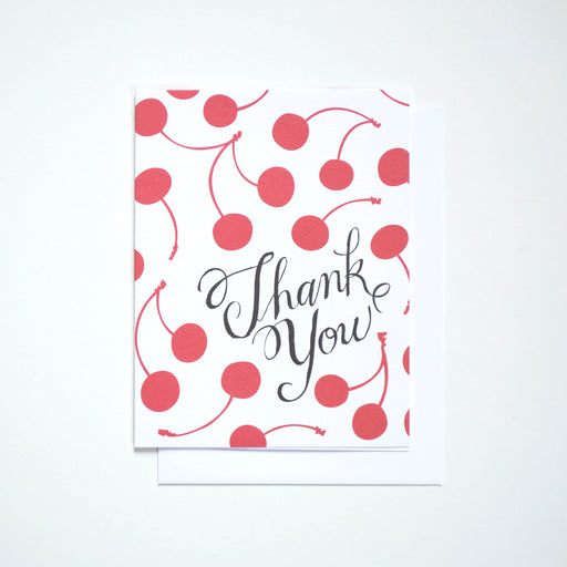 Beautiful red cherries and a hand lettered Thank You on this note card from Banquet Workshop