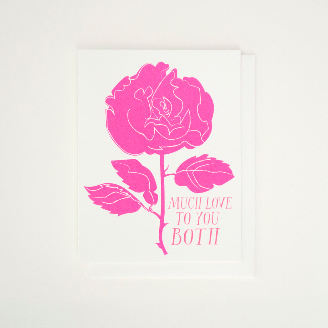 Much Love to You Both and a neon pink rose on this Banquet Workshop Wedding Card