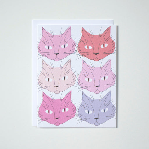 Illustrations of 6 kittens in pinks and purples.