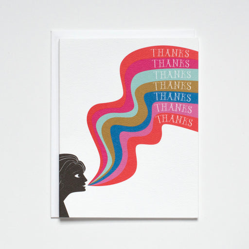 A rainbow of thanks note card groovy thank you card with woman saying thank you multiple times in a rainbow